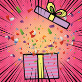 Comic opened birthday gift box with bow ribbon and colorful confetti