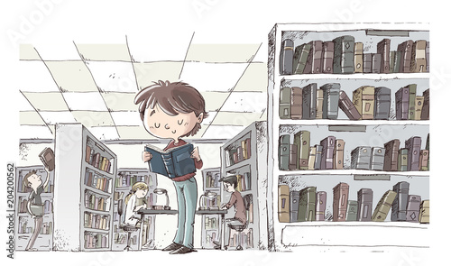 niño leyendo en la biblioteca