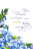 Template for congratulations or invitations to the wedding in blue colors. Illustration by markers, beautiful composition of hydrangea and leaves. Imitation of watercolor drawing. - 204203301