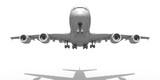 Passagier Flugzeug beim Start in der Frontansicht, freigestellt