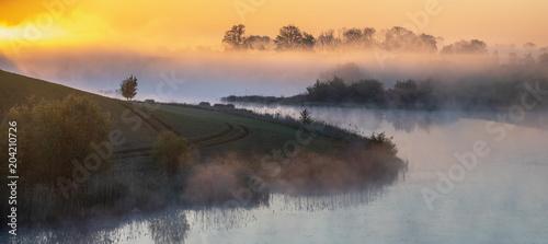 Aluminium Zonsopgang Fairytale, misty sunrise over the lake