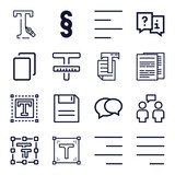 Set of 16 text outline icons