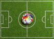 Fußball Stadion von oben mit Flaggen auf Ball