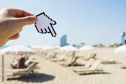 man pointing to La Barceloneta beach in Barcelona Poster