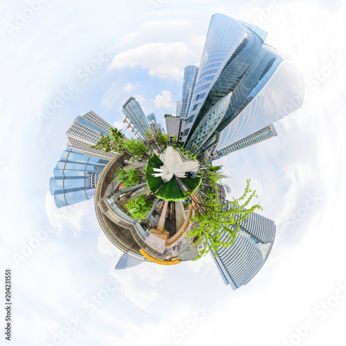 Poster 360 Panorama view of high building in city