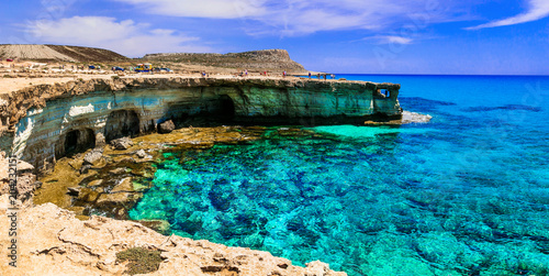 Fotobehang Freesurf Amazing sea and rocks formation in Cyprus island. Natural park Cape Greko