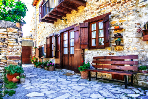 Fotobehang Freesurf Beautiful floral streets and houses of old traditional villages of Cyprus. Lefkara