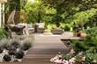 Leinwanddruck Bild - Wooden terrace surrounded by greenery