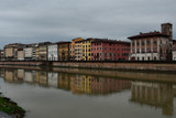 Pisa and Arno River, Italy in a rainy day