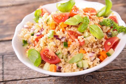 quinoa salad with tomato,avocado,cucumber and basil