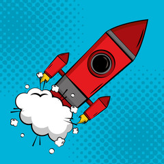 comic pop art rocket launch halftone background vector illustration