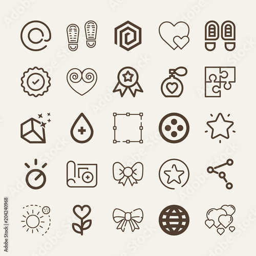 Set of 25 shapes outline icons