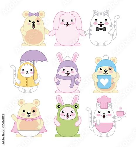 kawaii animals mouse kitty cat and rabbit cartoon vector illustration - 204243132