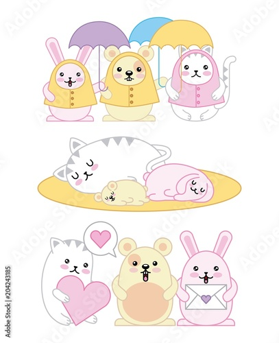 kawaii animals mouse kitty cat and rabbit cartoon vector illustration - 204243185