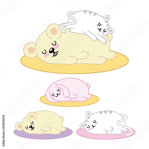 kawaii set animals sleeping in floor cartoon vector illustration - 204243356