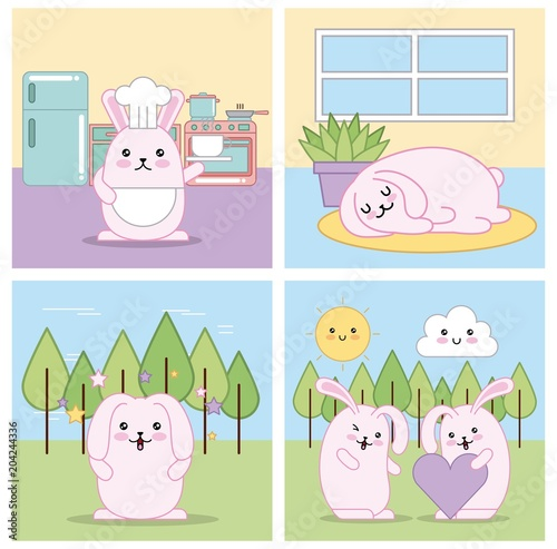set of cute animals kawaii in different situations vector illustration - 204244336