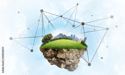Concept of modern networking technologies and eco green construction