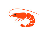 Shrimp logo. Isolated shrimp on white background