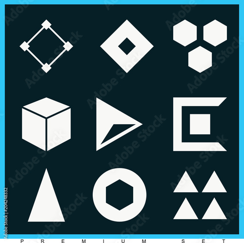 Set of 9 figure filled icons