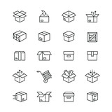 Box related icons: thin vector icon set, black and white kit - 204249738