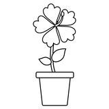 flower in a pot over white background, vector illustration