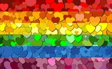 Gay pride flag made of hearts background - Illustration,  