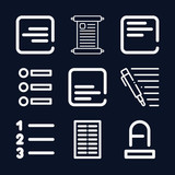 Text icon set - outline collection of 9 vector icons