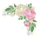 Vector flowers, floral bouquet, leaves and twigs. Composition for a wedding or a postcard. Vector illustration.