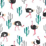 Seamless pattern with watercolor ostrich and cactus. Vector trendy background. - 204265703