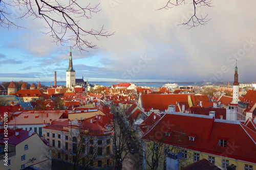 View of Tallinn's Old Town after storm which is one of the best preserved medieval cities in Europe and is listed as a UNESCO World Heritage Site