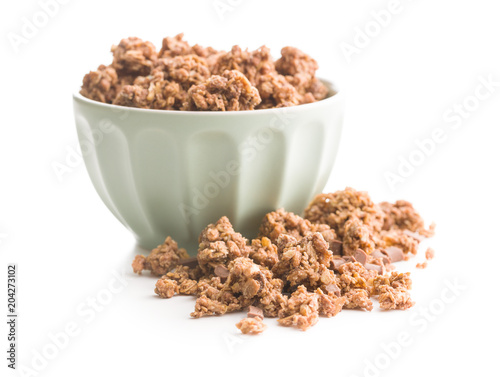 Poster The chocolate granola breakfast cereals.