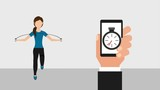 woman jumping rope and hand holds smartphone with stopwatch healthy lifestyle - 204275544
