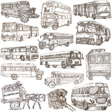 Transport, Transportation around the World. Buses. - An hand drawn collection. Freehand sketching. - 204278102
