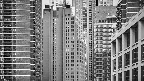 Black and white picture of New York architecture, USA. - 204279584
