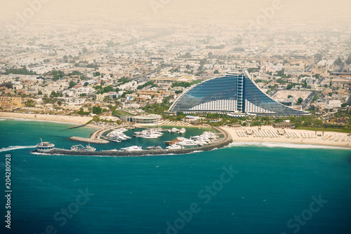 Aluminium Groen blauw Dubai Jumeirah beach, UAE. Travel destination.