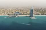 Skyline of Dubai from the sea.
