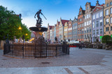 Fountain of the Neptune in old town of Gdansk at dawn, Poland - 204281307