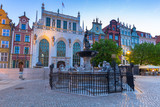 Fountain of the Neptune in old town of Gdansk at dawn, Poland - 204281341