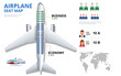 Chart airplane seat, plan, of aircraft passenger. Aircraft seats plan top view. Business and economy classes airplane indoor information map. Vector illustration of Plane on ultraviolet background.