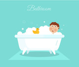 Flat smiling boy with yellow duck taking shower in bath. Cartoon hygiene illustration