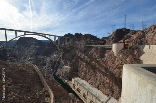Aluminium Cappuccino Hoover Dam; Mike O'Callaghan-Pat Tillman Memorial Bridge; sky; bridge; dam; dike; dyke; steel arch bridge