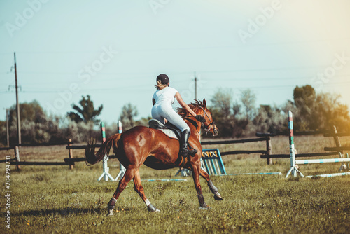 Plexiglas Paarden A woman jockey participates in competitions in equestrian sports, jumping.