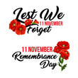 Remembrance day 11 November vector poppy icons