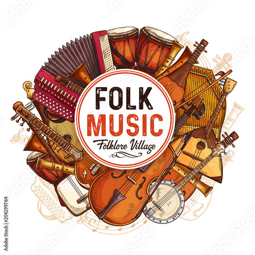 Fototapeta Vector music concert poster of sketch instruments