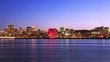 Montreal skyline and Saint Lawrence River at dusk, Quebec, Canada
