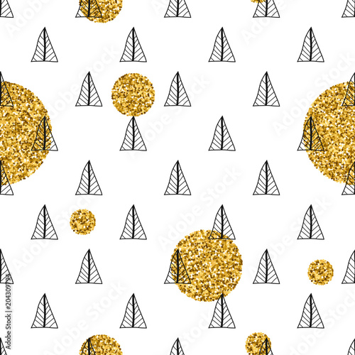 Fototapeta Triangles and golden circles, sequins. Seamless pattern. Geometric, abstract background. Doodle shapes.