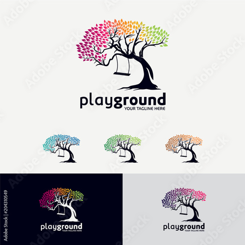Fotobehang Wit Play Ground Tree Logo Designs Template