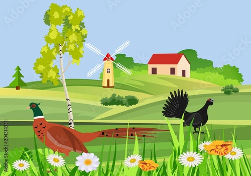 Fotobehang Lime groen Beutifull countryside view, vector concept, little village on hills