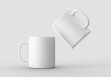 Mug mock up isolated on light gray background. 3D illustrating. - 204315328