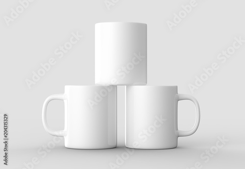 Mug mock up isolated on light gray background. 3D illustrating.